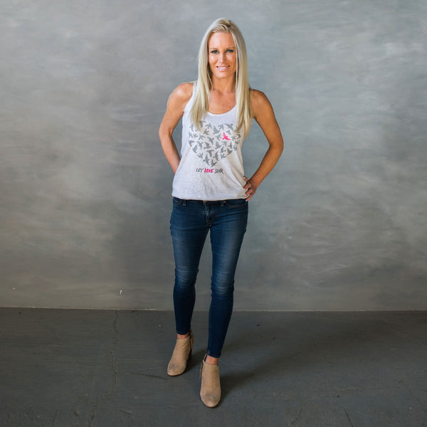 Let Love Soar - Gray & Pink Birds-Tank Tops-LollyDagger