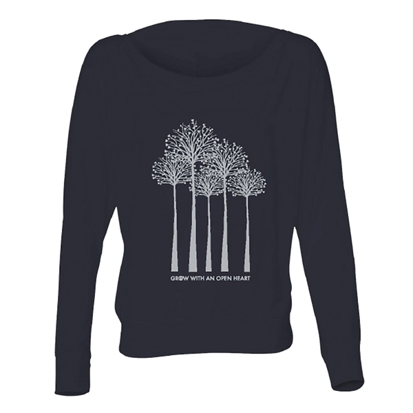 Grow with an Open Heart - Trees - Midnight Blue-Long Sleeve T-Shirts-LollyDagger