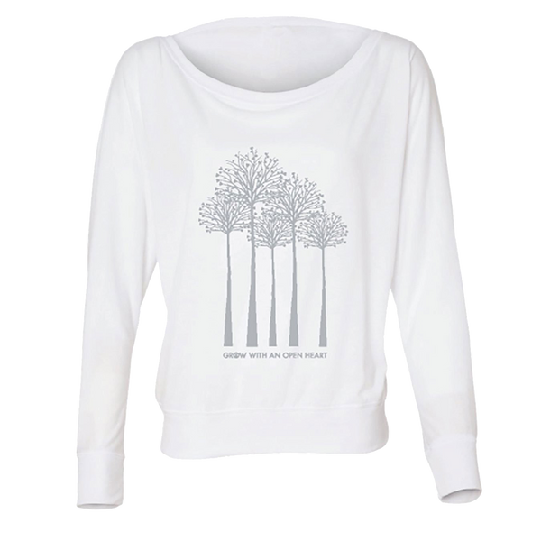 Grow with an Open Heart - Trees - White-Long Sleeve T-Shirts-LollyDagger