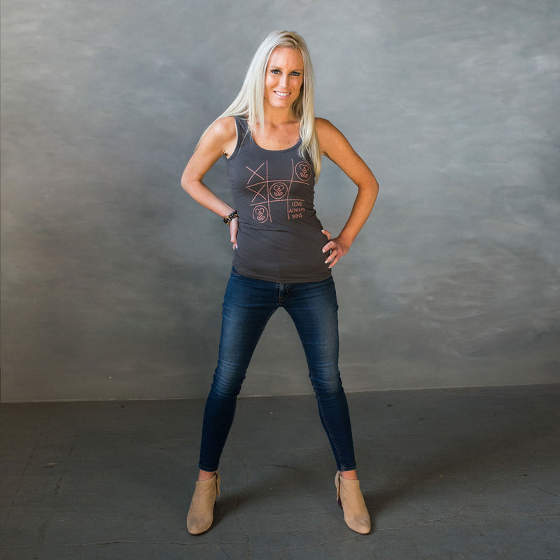 Love Always Wins - Tic-Tac-Toe - Dark Gray-Tank Tops-LollyDagger