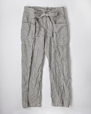 WRAP PANTS / STRIPED LINEN