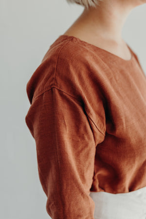 DROP SLEEVE SHIRT / RUST LINEN