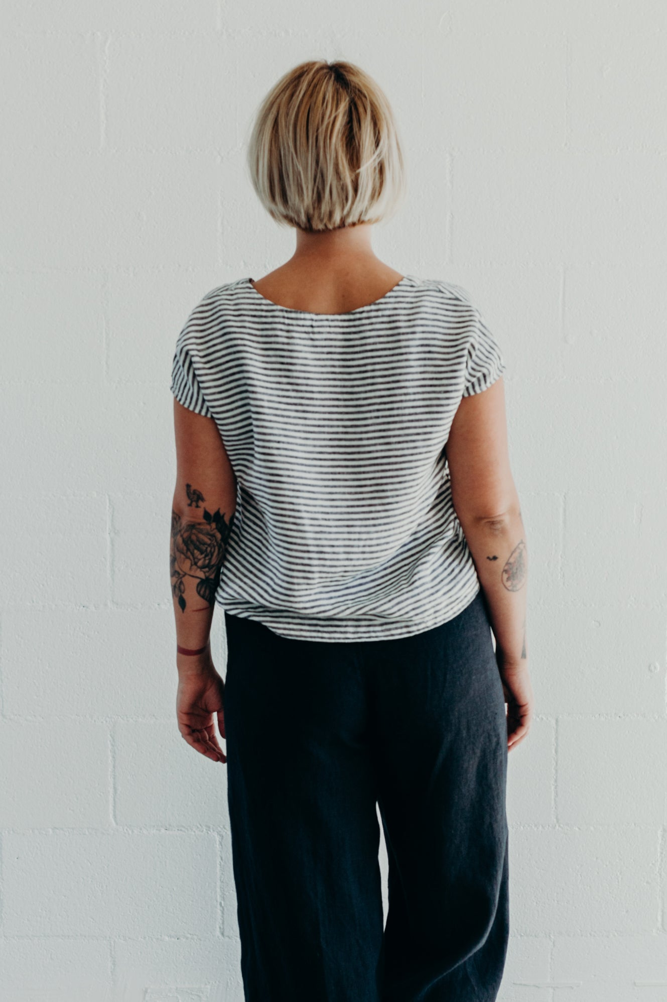 DOLMAN TOP / STRIPED LINEN