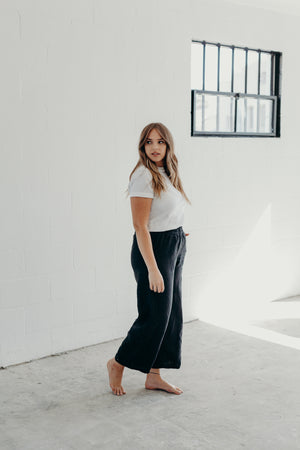EASY SAILOR PANTS / BLACK LINEN