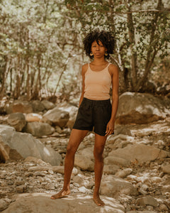 EASY SHORTS / BLACK LINEN
