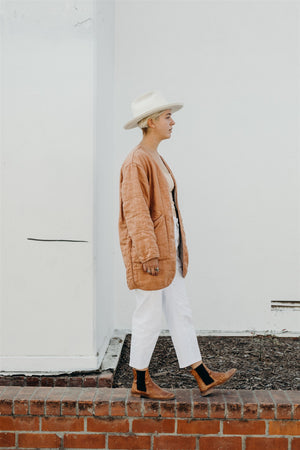 QUILTED COAT / CLAY LINEN