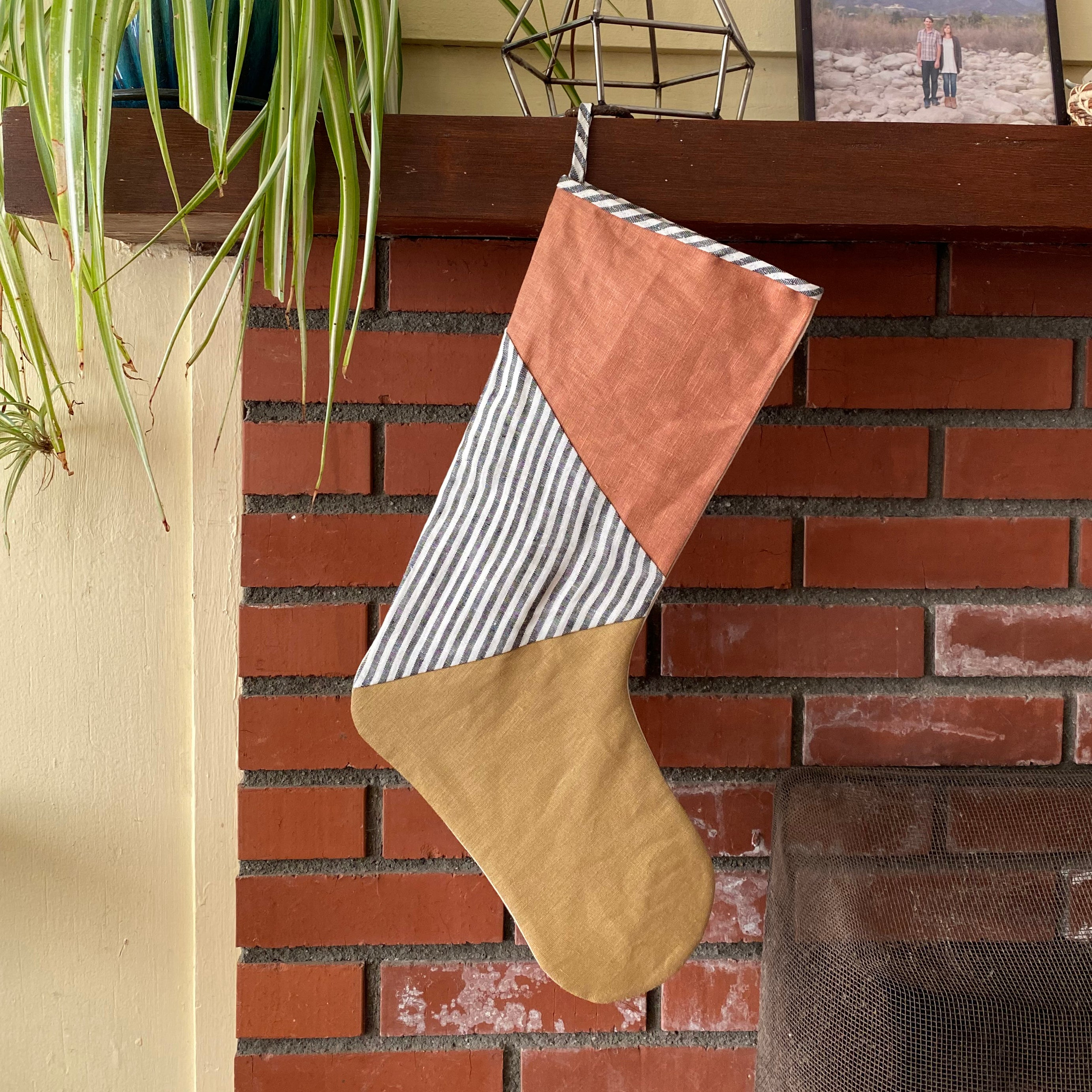 HOLIDAY STOCKING / CLAY + STRIPE + DIJON