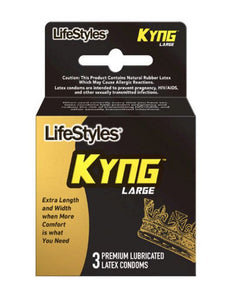 LifeStyles Kyng Large Condoms 3pk Clear