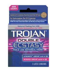 Trojan Double Ecstasy Condoms 3pk Clear