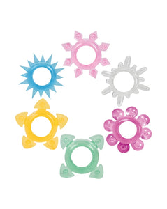 Tower Of Power Cock Rings 6pk Assorted Colors