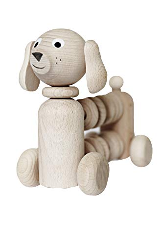 Ella&Amp;Frederik Natural Wooden Dog Rattle | Montessori Toys Handmade In Europe (Gerhard)
