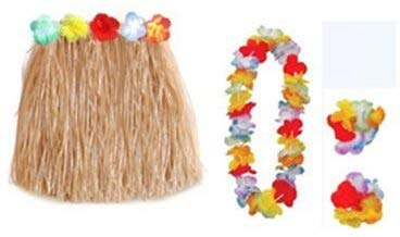Hawaiian Luau Skirt - 24-Piece Hula Dance Luau Party Supplies Set With 6 Grass Skirts Colorful Silk Faux Hibiscus Flowers, 6 Leis, 12 Bracelets, For Costume Party, Birthday, Performances, Beige