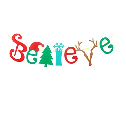 Christmas Banner Xmas Believe Bunting Garlands Party Bunting Banner Xmas Party Home Decoration
