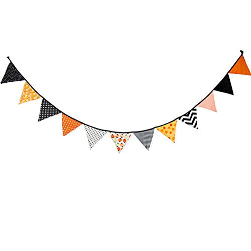 Multi Colored Fabric Bunting For Party Birthday Wedding Anniversary Celebration Baby Shower(Orange &Amp; Black)