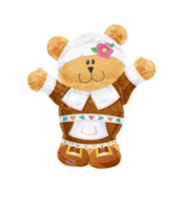 Thanksgiving Pilgrim Bear 30  Mylar Balloon