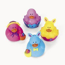 12 Vinyl Mini Easter Rubber Duckies By Fx