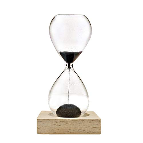 Relaxus Mesmerizing Magnetic Sand Timer On Wooden Base, 60-70 Seconds.