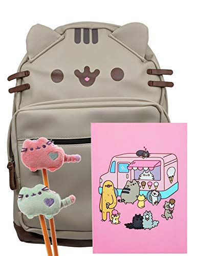 Pusheen The Cat Back To School Set - Pusheen Pu Leather Cat Face Backpack, Pusheen Ice Cream Truck Notebook And Two Plush Pencil Toppers - Gift For Student