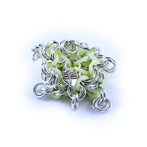 Dragonfly Footbags Silver Glow In The Dark 22 Gram Chainmail Footbag (Hacky Sack)