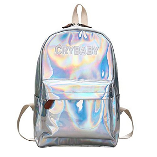 Orfila Fashion Holographic Pu Leather Backpack Bling Glitter Casual Daypack Laser School Bag Travel Satchel , Silver