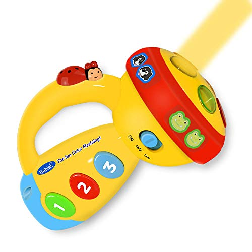 Baby Favorited Toys For 1-3 Year Old Kids,Kimy Spin And Learn Flashlight Birthday Party Gifts Presents For Age 1-5 Boys Girls Easter Yellow Kmusfl01