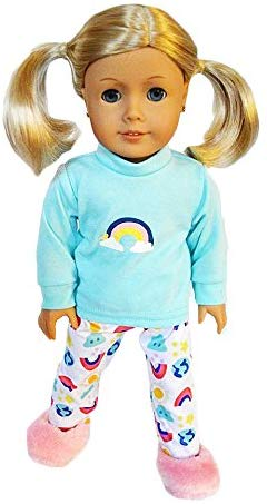 Brittany'S Rainbow Pjs Compatible With American Girl Dolls - 18 Inch Doll Pjs And Clothes