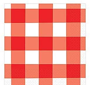 Amscan American Summer Red Gingham Party Beverage Napkins | 12 Ct.