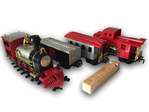Fao Schwarz Classic Motorized Train Set, 30-Piece Complete Toy Set With Steam Engine, 18 Feet Of Track, 3 Unique Train Cars With Led Lights, Realistic Sound Effects, With Train Whistle Bundle