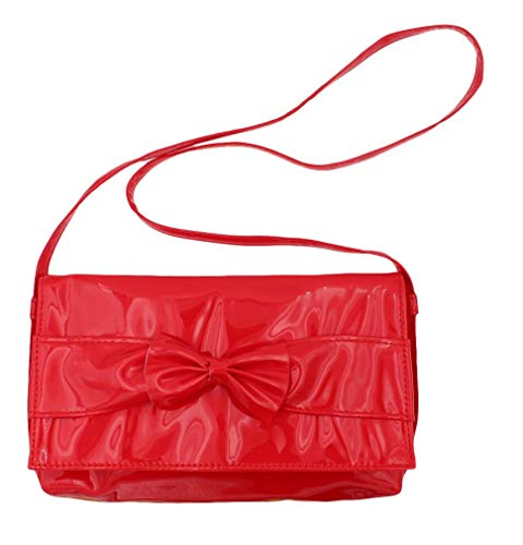 Mc Girl'S Pu Imitation Patent Leather Shoulder Strap Purse Red