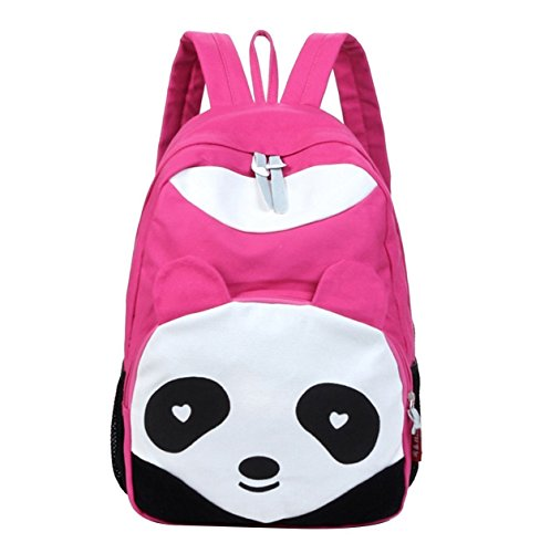 Jiuhexu Fashion Cute Panda Vintage Canvas Backpack Rucksack School Bag Satchel For Teen Girls And Boys (Rose Red)