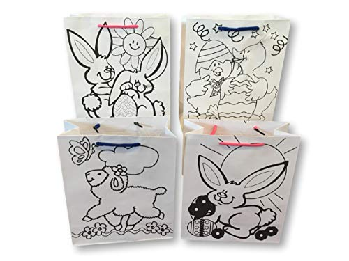 Easter Bags - Color Your Own Bag - Set Of 4 - Easter Party Bags With Shoestring Handle 9 X 8