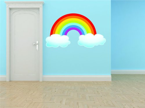 Top Selling Decals - Prices Reduced : Preschool Classroom Rainbow With Clouds Outdoor Scene Boy Girl Kids Children Picture Art Mural - Best Selling Cling Transfer Color 628 Size : 30 Inches X 50 Inches - Vinyl Wall Sticker - 22 Colors Available