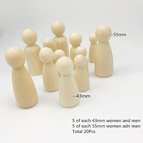 Baby Love Home 20Pcs Wooden Peg Doll Unfinished Wooden People Medium Family Baby Making Doll Diy Toys