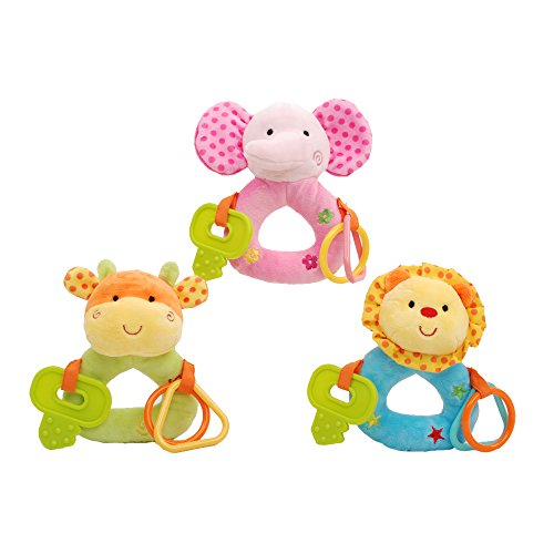 Linzy Plush Baby Animals Rattle With Ring O' Links And Tether Set (3 Piece), Multi Color 6