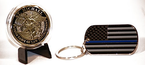 Beall'S Bay Steel Saint Michaels Police Badge Shield Challenge Coin And Thin Blue Line American Flag Key Chain