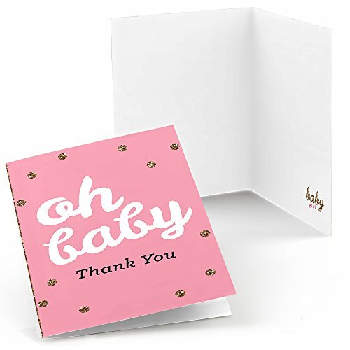 Big Dot Of Happiness Hello Little One - Pink And Gold - Girl Baby Shower Thank You Cards (8 Count)