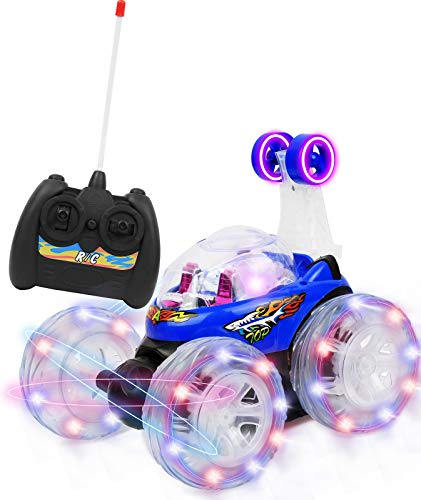 Click N' Play Rc Remote Control High Performance Disco Tumbling King Tornado Acrobatic Stunt Rc Car, Radio-Controlled Rechargeable Vehicle With Flashing Led Lights &Amp; Music Switch, Safe &Amp; Durable