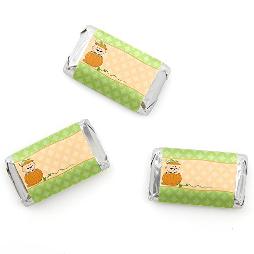 Little Pumpkin Caucasian - Mini Candy Bar Wrappers Fall Baby Shower Or Birthday Party Favors - 20 Count