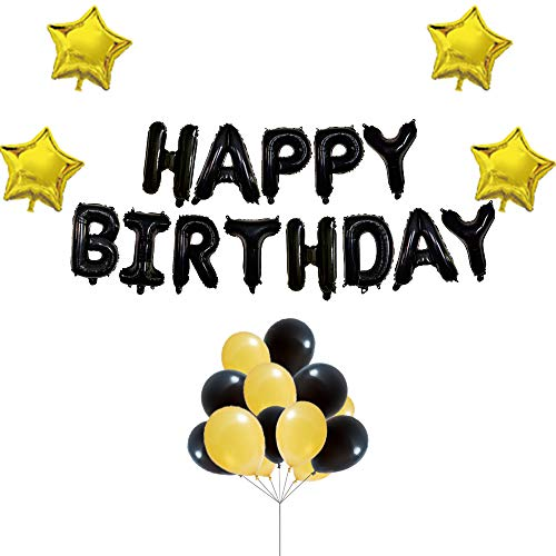 Uever Black And Gold Happy Birthday Balloons With Black Happy Birthday Banner Foil Letter Balloons, 4 Gold Foil Star Balloons And 12 Black And Gold Latex Balloons For Birthday Party Decorations