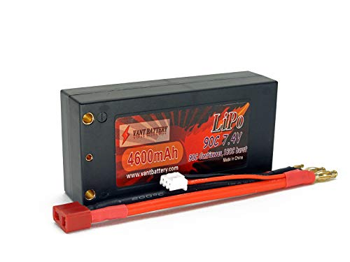 7.4V 4600Mah 2S Cell 90C-180C Shorty Roar Approved Hardcase Lipo Battery Pack W/ 4Mm Bullet Plugs &Amp; Deans Ultra Connector + Warranty