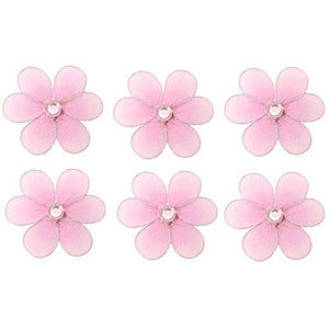 "Flower Decor 2"" Pink Mini X-Small Nylon Mesh Flowers Daisy Daisies 6 Piece Decorations Set Decorate Baby Nursery Bedroom Girls Room Wall Wedding Birthday Party Shower Crafts Scrapbooks Invitations Diy"