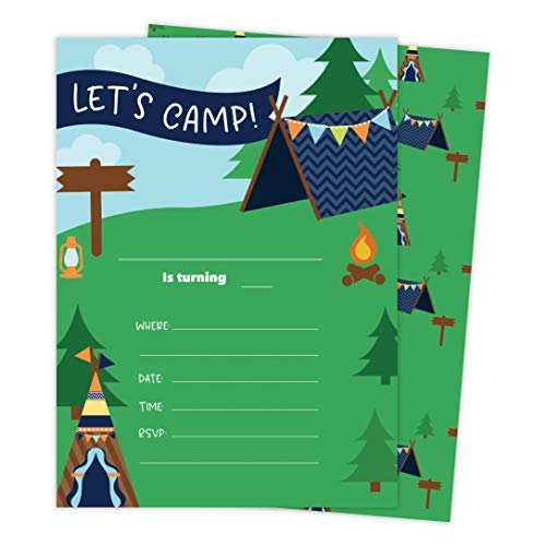 Camping Boys 3 Happy Birthday Invitations Invite Cards (25 Count) With Envelopes &Amp; Seal Stickers Vinyl Boys Kids Party