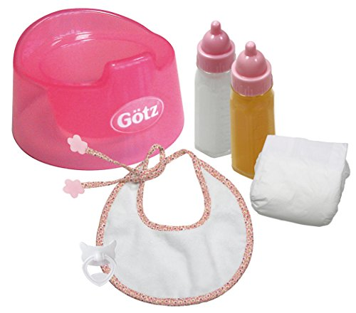Gotz Basic Care Potty Training Set For Baby Dolls Up To 16.5  - Includes Potty, Bib, Diaper, Milk Bottle And Juice Bottle