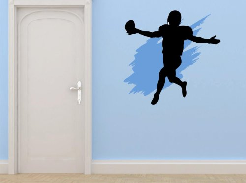 Top Selling Decals - Prices Reduced : Football Sports Team Player Running Kicking Throwing Passing Mens Boys Kids Bedroom Bathroom Living Room Picture Art Mural - Size : 12 Inches X 12 Inches - Vinyl Wall Sticker - 22 Colors Available