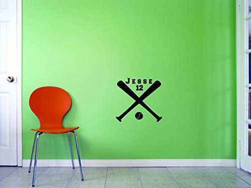 Baseball Bat Sports Personalized Name & Number Custom Girl Boy Name & Number Vinyl Wall Decal Sticker Childrens Bedroom 18 Inches X 18 Inches