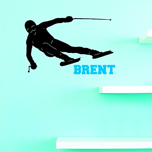 Personalized Custom Name Sideways Skiing Sports Team Kids Sticker Vinyl Wall Decal 10 Inches X 20 Inches