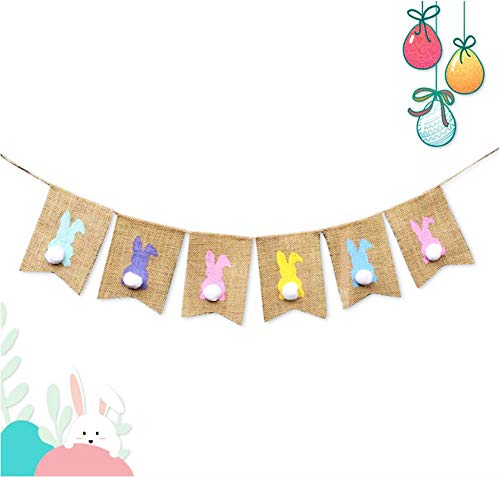 2M Rabbit Bunny Burlap Garland Happy Easter Banner Rustic Celebration Party Decorations