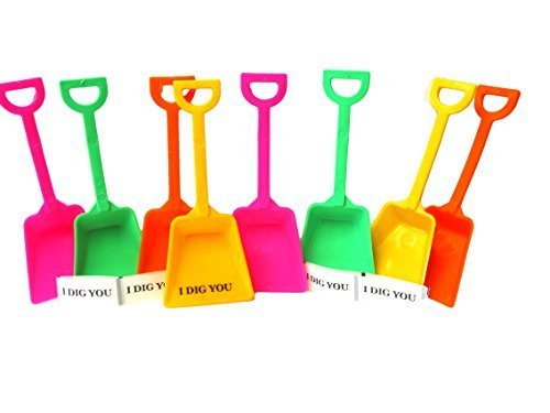 Small Toy Plastic Shovels Mix Lime Orange Yellow &Amp; Pink, 12 Pack, 7 Inches Tall 12 We Dig You Stickers