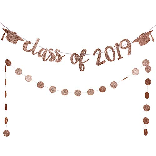 Rose Gold Glittery Class Of 2019 Graduation Cap Banner And Rose Gold Circle Dots Garland,Graduation Or Grad Party Decoration Supplies