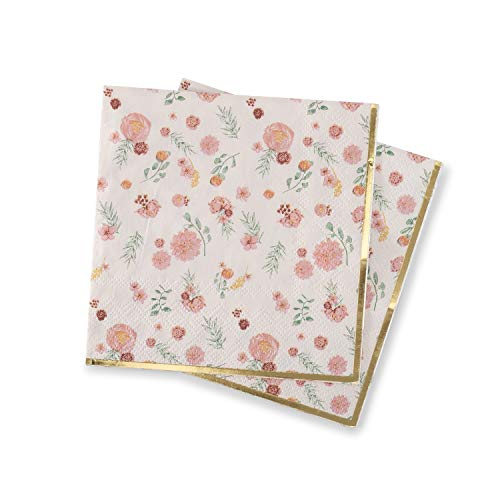 Pink Floral Napkins Decorative Paper Napkins With Elegant Flower Pattern And Metallic Gold Foil Detail Cocktail Dessert Napkin (4.9  X 4.9 ) For Baby Shower, Wedding, Birthday, Bridal Shower By Twigs &Amp; Twirls - Posh Floral, (32 Count)